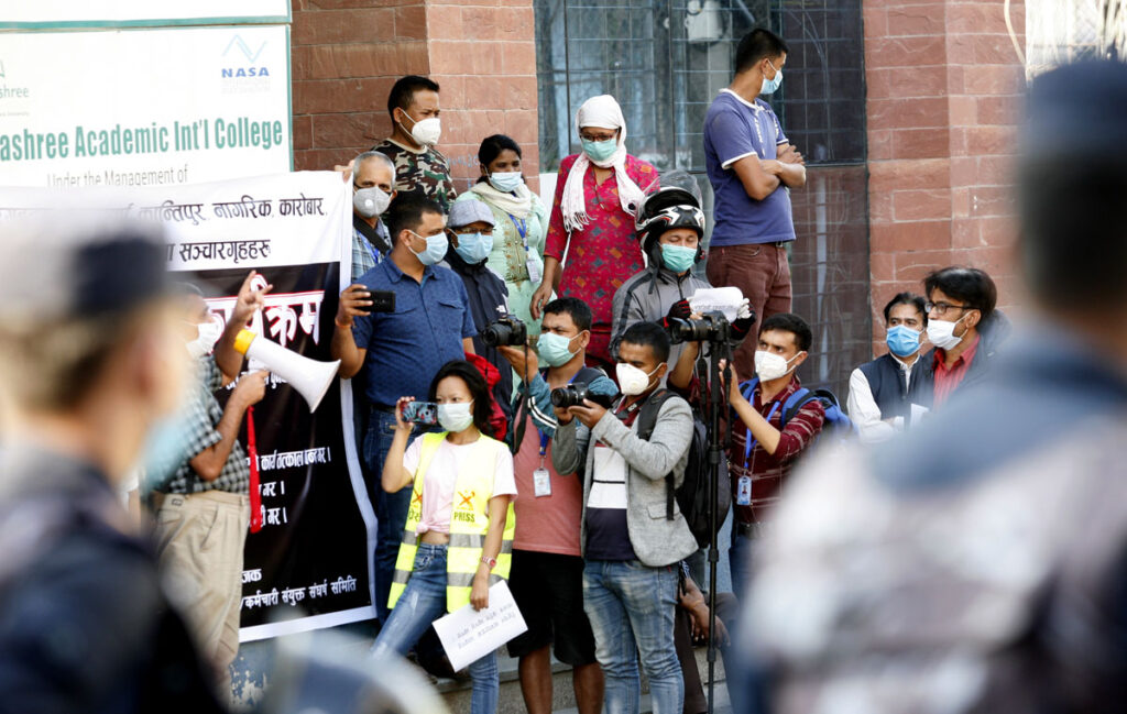 Journalists in Nepal demonstrate in front of media house protesting salary cuts and illegal job terminations during the Covid-19 pandemic. Credit: Photojournalists Club Nepal